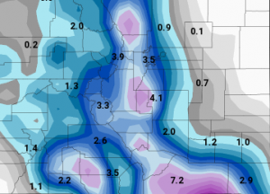 GFS predicted snowfall using 10:1 ratio