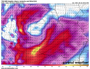 GFS surface winds Weds morning