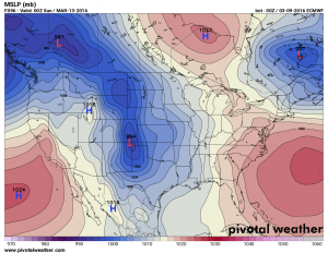 Euro model showing a strong closed low over SE Colorado next week