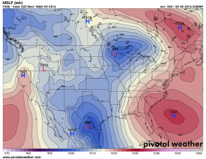 Euro model shows breakdown of high pressure ridge over Western U.S.