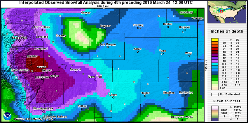 NWS preliminary snowfall map