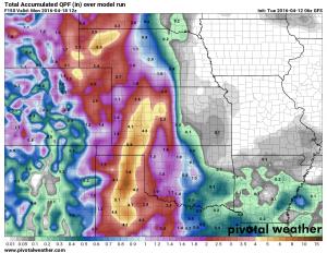 GFS quantitative precipitation forecast by 6AM Monday