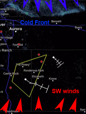 Advancing coldfront with NE winds