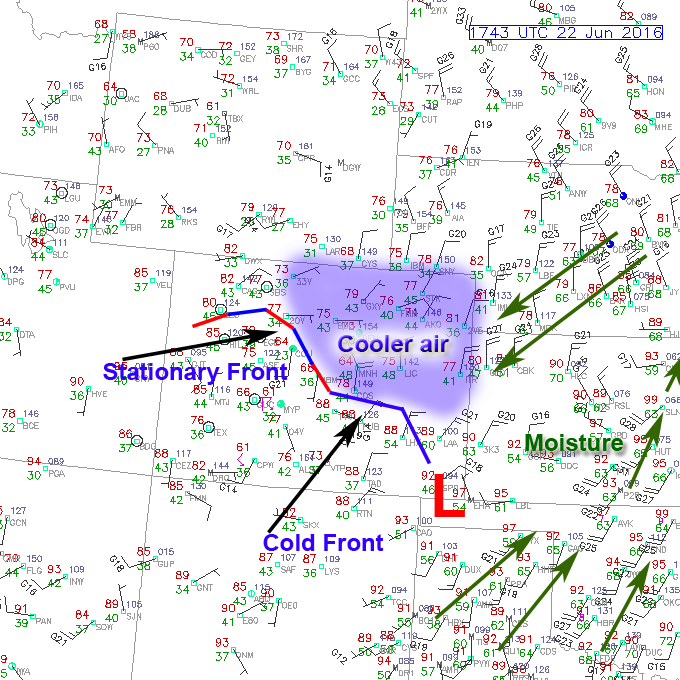 Surface observations as of 11:43AM Mountain Time