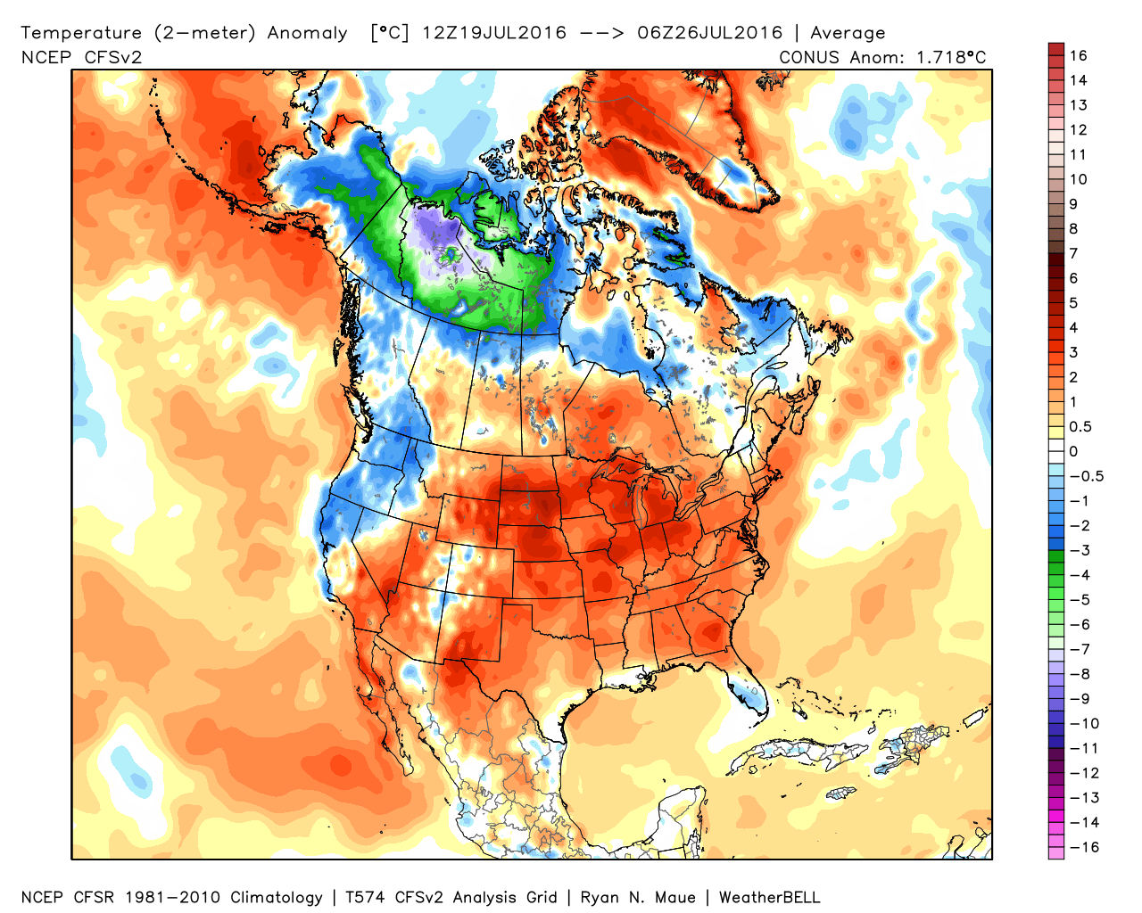 2M Temperature Anomalies from last 7 days (Courtesy: Weatherbell)
