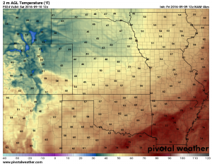 Colorado Weather - Forecast low temperatures for Saturday September 10