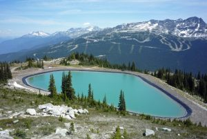 Storage reservoir used for snowmaking at Whistler- Blackcomb Ski Resort in British Columbia, Canada.