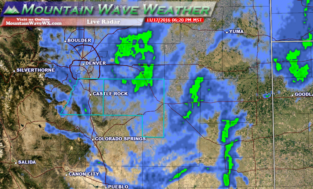 Live look at our front range radar. Although the storm's energy has moved East of the state, wrap around moisture and upslope are keeping showers going in the area. Expect the snow to begin to taper off in the next couple of hours.