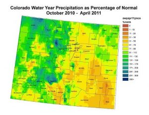Percentage of normal precip from Oct 10 - April 11.